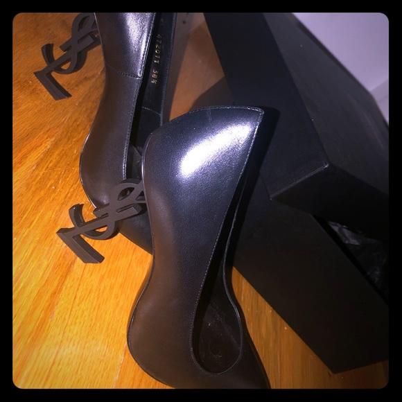 Yves Saint Laurent Shoes - YSL Logo Opium Leather Shoes